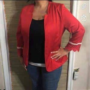 Jackets & Blazers - Open front blazer red 3/4 sleeve NWT plus size